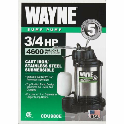 3//4 HP Stainless Steel Cast Iron Submersible Sump Pump w// Ver... Wayne CDU980E
