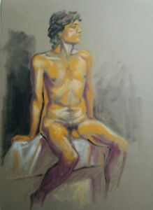 MALE NUDE ORIGINAL FIGURE ART MODEL DRAWING on PAPER SIGNED BY THE ARTIST