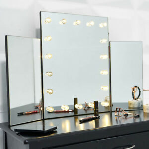 Hollywood Triple Folding Makeup Mirror With Led 18 Lights