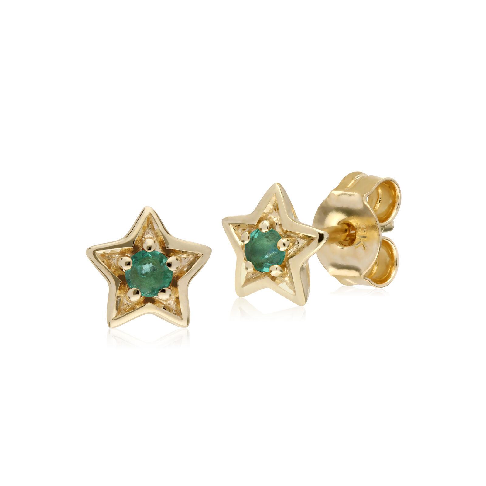 Gemondo 9ct Yellow gold Emerald Single Stone Star Stud Earrings