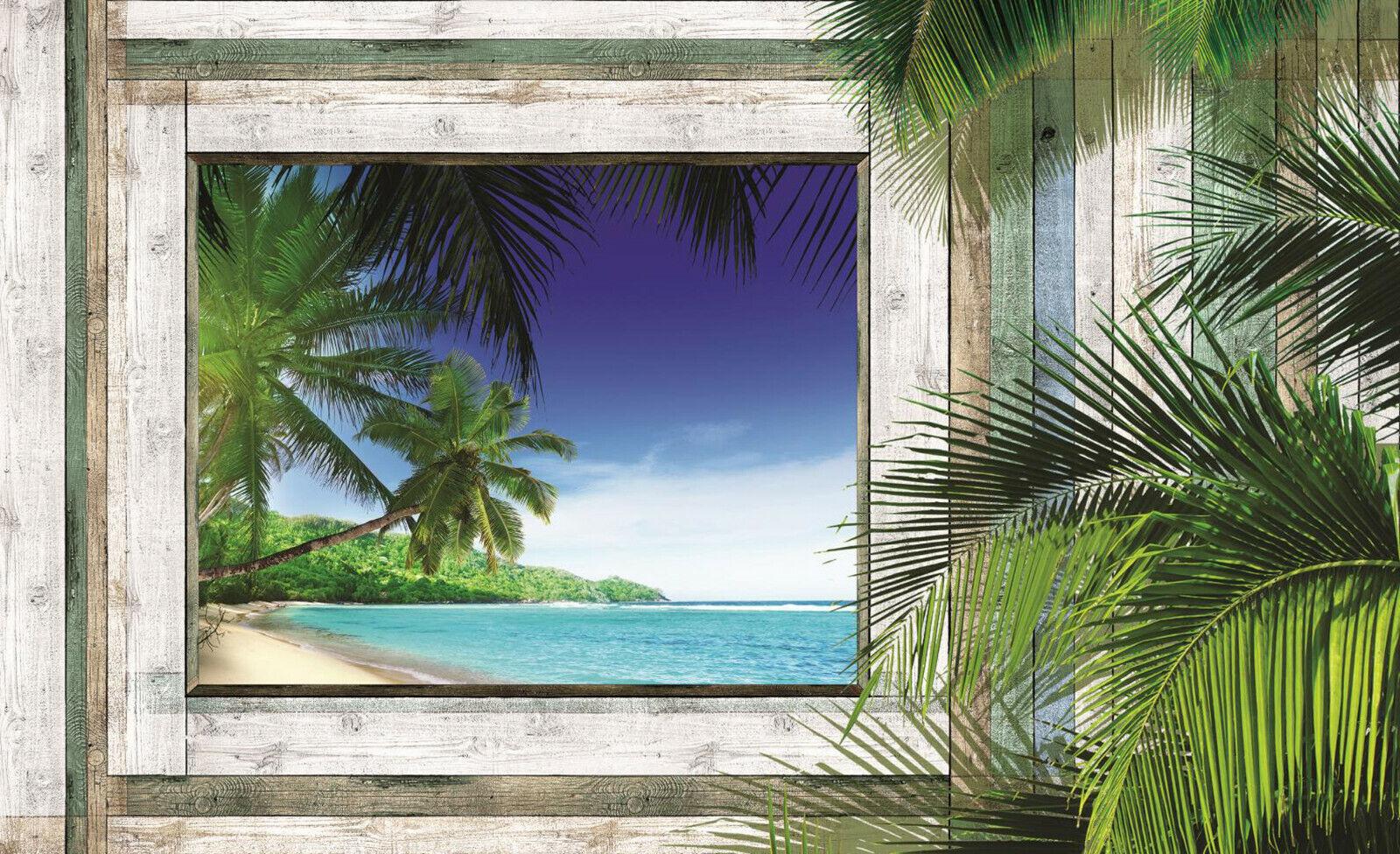 VLIES Fototapete-HOLZ-WAND-(1223)-Palmen-Strand Karibik Südsee Meer Fenster