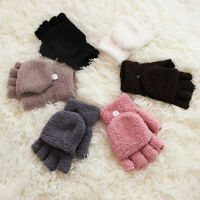 Warm Unisex Women Men Knitted Fingerless Winter Gloves Soft Mittens