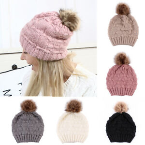496686e252c1d Women s Winter Warm Beret Braided Baggy Knit Crochet Beanie Hat Fur ...