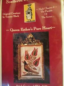 Queen-Esther-039-s-Pure-Heart-Cross-Stitch-CHART-64x96-Stitches-Scattered-Seed-Sampl