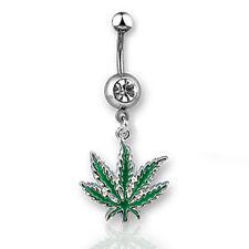 Hemp Shack - Marijuana Pot Leaf - Navel Ring w/ CZ Stone (Belly / Body Jewelry)