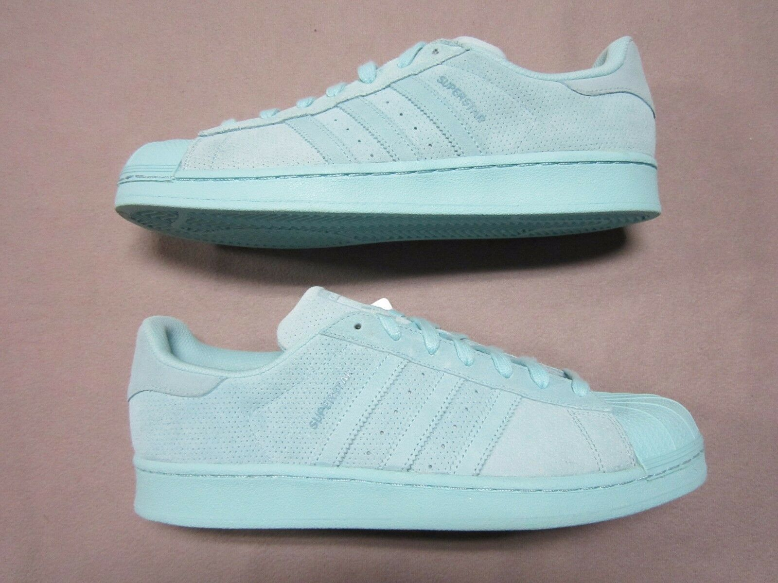 ADIDAS ORIGINAL MENS SUPERSTAR MINT BLUE AQUA SUEDE SNEAKERS SHOES SIZE 11.5 NEW