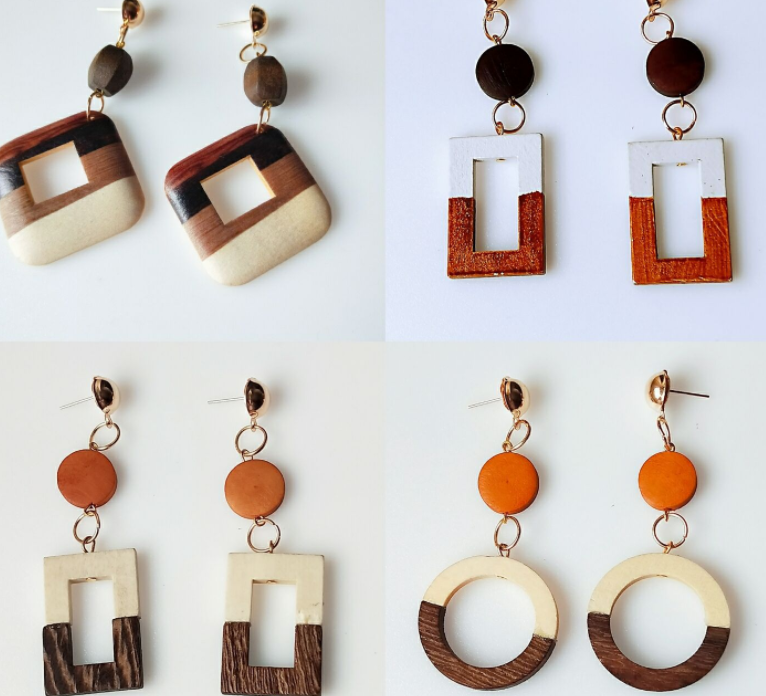 Retro Wooden Earrings Geometric Temperament Personality Trendy Exaggerated Ear