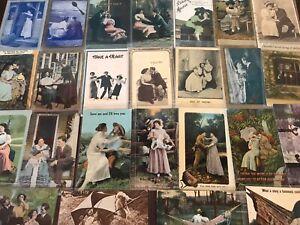Lot-of-25-Antique-Couples-Men-amp-Woman-Romantic-Romance-Postcards-p879