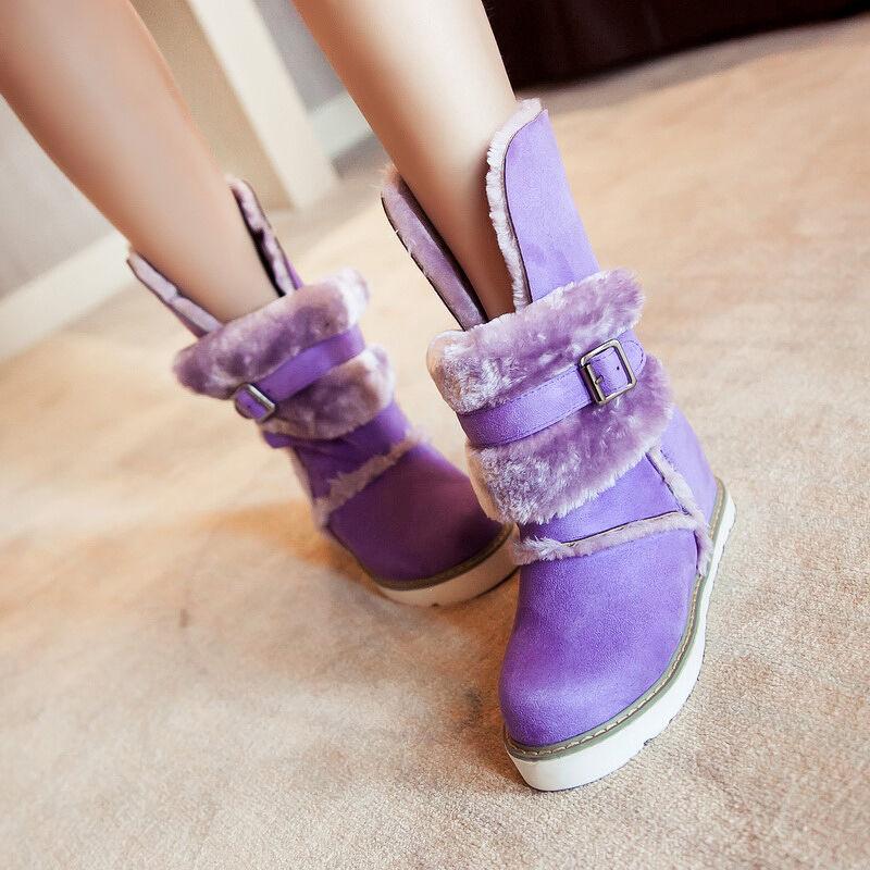 Women Winter Warm Velvet Snow Ankle Boot Buckle Fur Lined Low Heels Casual Shoes