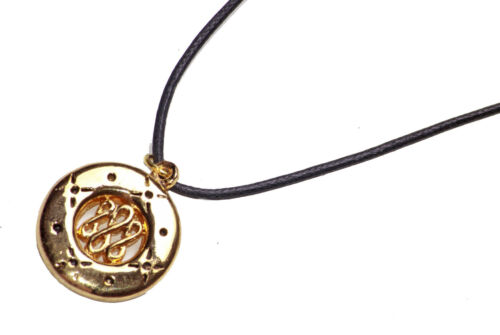 AGNES CELTIC STYLED GOLD COIN PENDANT NECKLACE ADJUSTABLE BLACK STRING ZX54//181
