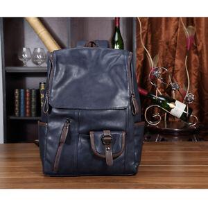e77f0b4281 Image is loading Mens-Leather-Backpack-Rucksack-Bag-Laptop-Travel-School-