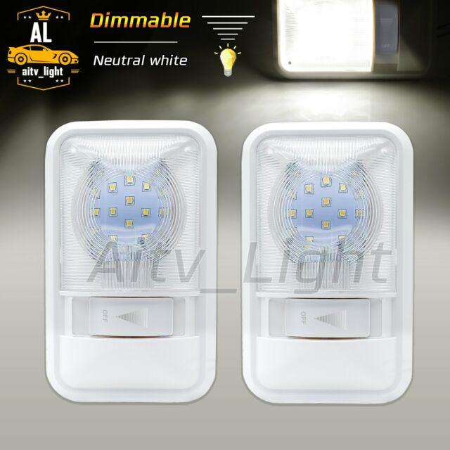 2 X 24 LED Dimmable Neutral White Caravan Single Dome Interior Light 12V RV Jeep