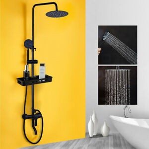 "12/"" Wall Mount Rainfall Shower Kit Hand Held Sprayer Mixer Faucet Black Taps"