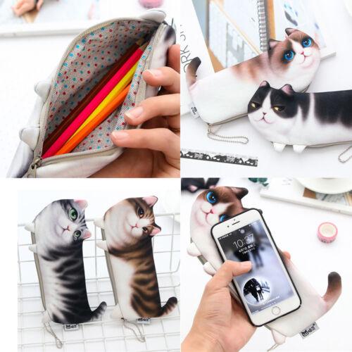 3D Animal Cute Cat Face Zipper Case Coin Women Girls Purse Wallet Pen Bag Pouch