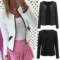Womens Vintage Long Sleeves Cardigan Jacket Jumper Ladies Blazer Coat Outwear UK
