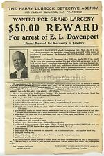 "Wanted Notice - Grand Larceny/Jewelry - $50 Reward, ""E. L. Davenport,"" 1920"