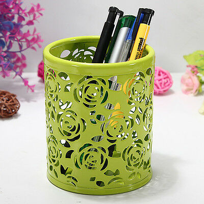 Hollow Rose Flower Pattern Cylinder Pen Pencil Pot Container Holder Organiser