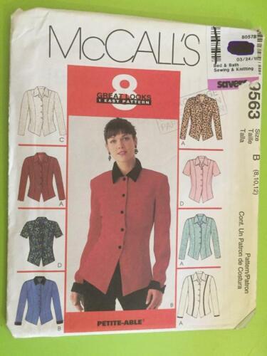 McCalls Sewing Pattern 9563 Ladies Misses Tops Size 12-16 Uncut