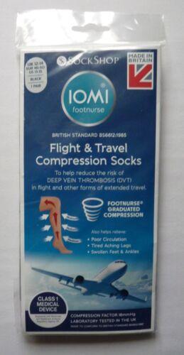 DVT Flight Socks size 12-14 IOMI 18 mmHg Graduated Compression Black Travel