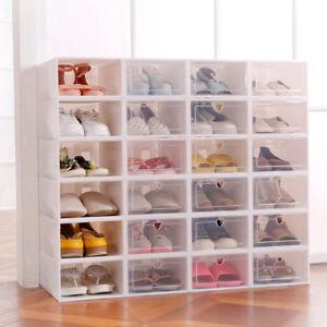12X Almacenamiento Apilable Cajón Plástico Caja de Zapatos Plegable Casa Hogar