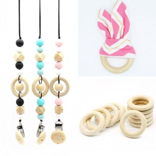 10pcs  25mm-60mm DIY Baby Wooden Teething Rings Necklace Bracelet DIY Crafts SH