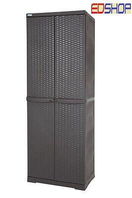 Armadio Rattan Da Esterno.Box 65x45x180 Armadio Mobile Portascope Rattan Marrone Da Esterno