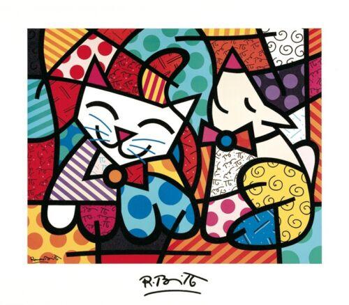 "HAPPY CAT AND SNOB DOG BRITTO ROMERO 980 ART PRINT POSTER 28/"" x 32/"""