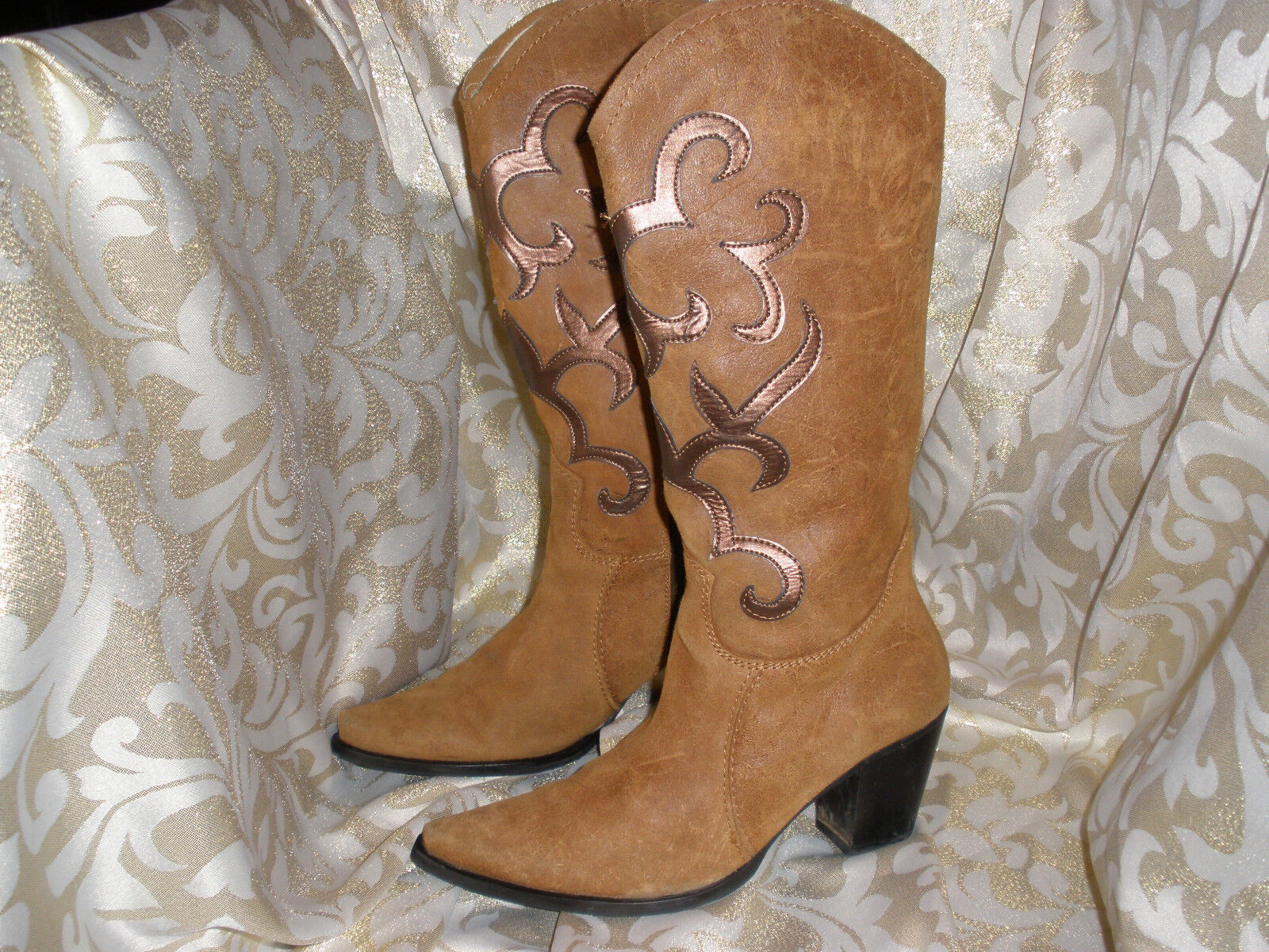 Nine West marrón   Bronce occidental de cuero BIKER botas Alto Talle 35 UE Talle 5 Us
