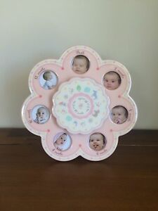 Nursery Newborn Pink Musical First 12 Months Photo Frame New Baby