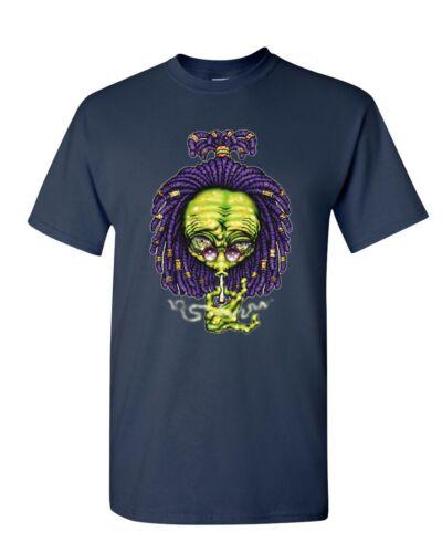 Alien Rastafari T-Shirt Funny Smoking 420 Pothead Kush Pot UFO Mens Tee Shirt
