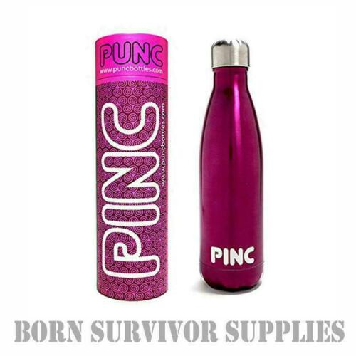 PUNC STAINLESS STEEL INSULATED WATER BOTTLE 500ml PINK Metal Flask Canteen