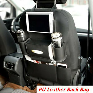 Car Back Seat Organizer Cup iPad Phone Holder Multi-Pocket Storage Bag Leather