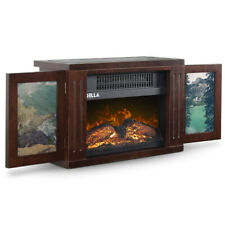 Portable Freestanding Tabletop Space Heater Flame Effect Mini Electric Fireplace