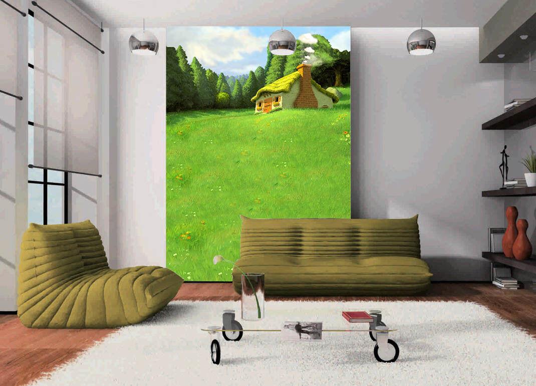 3D Grünes Gras Haus 957 Tapete Wandgemälde Tapete Tapeten Bild Familie DE Summer   Deutschland Berlin    Große Ausverkauf    Beliebte Empfehlung