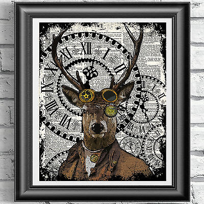 Old Stag Deer Head Sketch Upcycled Vintage Dictionary Page Art Print A4