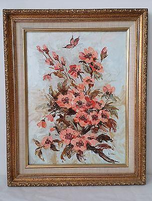 Vintage Poppy Pink Flower Oil on Board with Frame Artist Signed Lu Kallme
