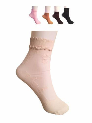3 X Ladies Plain Sheer Ruffle Design Ankle Socks Trouser Women Pop Socks UK 4-7
