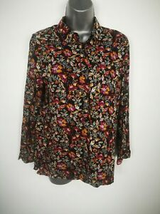 WOMENS-H-amp-M-FLORAL-BLACK-BUTTON-UP-LONG-SLEEVE-BLOUSE-SHIRT-TOP-UK-8