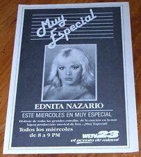 1984 WLTV MIAMI,FLORIDA TV AD~EDNITA NAZARIO~ESTE MIERCOLES EN MUY ESPECIAL