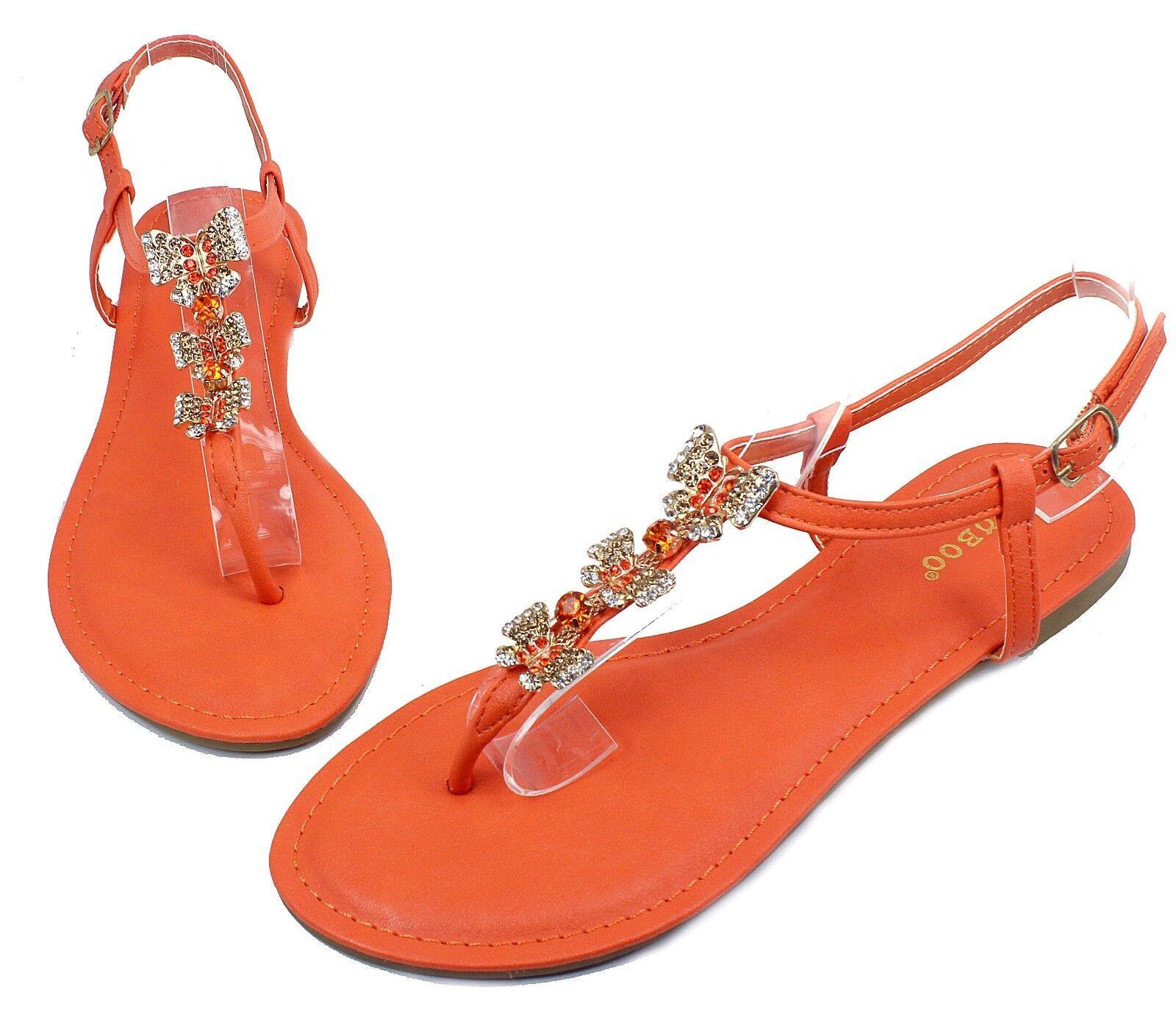 Grayson-17 Fashion Butterfly Stone Orange Flat Sandals Party Women Shoes Orange Stone 7.5 3e3383