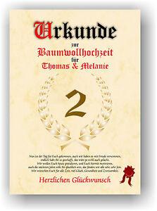 Baumwollhochzeit Urkunde 2 Hochzeitstag Geschenkidee