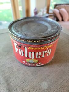 Vintage 1950s Folger's 1 Lb. Tin Coffee Can with Lid Mountain Grown Regular
