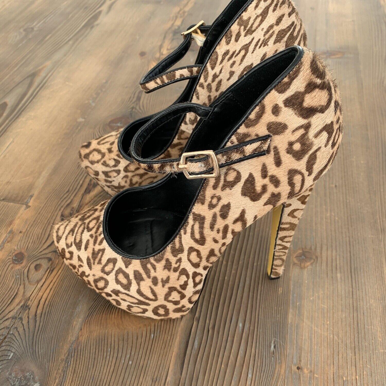 Taylor Says (Taylor Reeve)  Lipstix Lipstix Lipstix  High Heels Pumps Größe 8.5 Leopard RARE c3d016