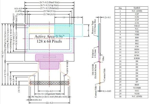 "0.96/"" 128X64 12864 White OLED LED COG Display Module LCD Screen Panel NEW"