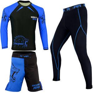 ROAR-MMA-Boxing-Fight-Short-UFC-Cage-Fight-Rash-Guard-Jiu-Jitsu-Compression-Spat