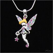 Fairytale Tinkerbell Miss Fairy Pendant Necklace Austrian Crystal Multicolor New