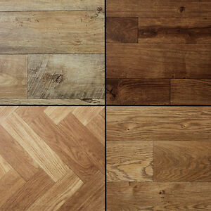 Wood stained dark aged plank effect brand new high quality for Wood effect lino bathroom