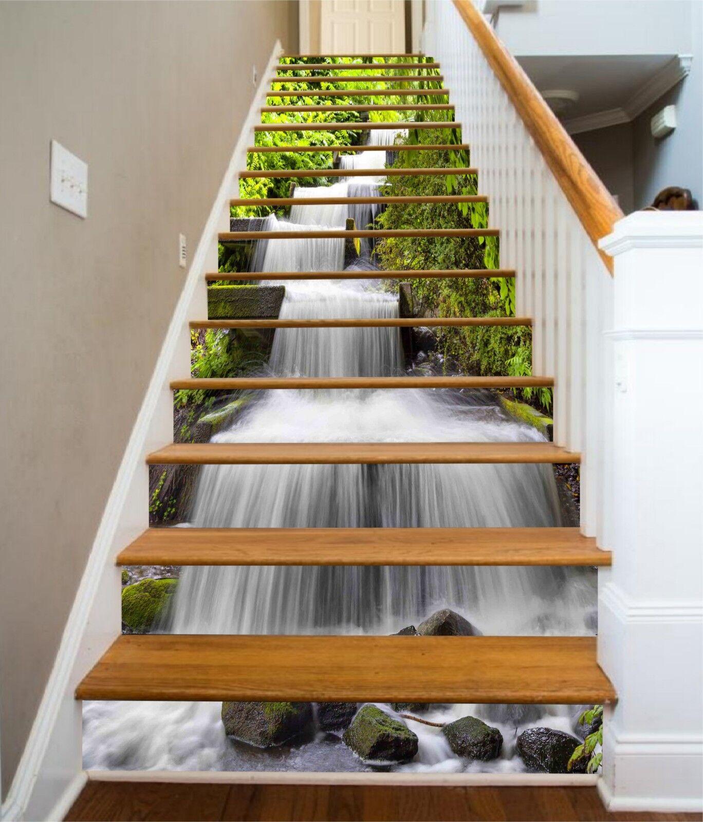 3D Trees Stream 06 Stair Risers Decoration Photo Mural Vinyl Decal Wallpaper CA