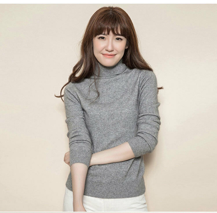 Women Lady Cashmere Sweater High Collared Knitting Warm Simple Comfort Winter