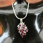 Vintage Natural Ruby & Diamond White Gold Pendant Necklace VTG